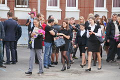 September 1, Knowledge Day in Russian school. Day of Knowledge. First day of school. Stock Photos