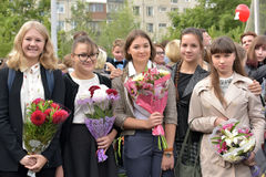 September 1, Knowledge Day in Russian school Royalty Free Stock Photos
