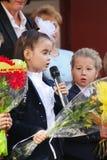 September 1, kunskapsdag i rysk skola Dag av kunskap första skola för dag Arkivbild