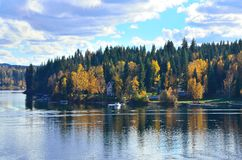 September at the lake. View of Horsefly Lake and the fall colors in September located in BC, Canada Royalty Free Stock Photography