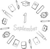 1 September. Logo. Black and white. School supplies, square academic cap, alarm clocks, briefcases and satchels around the inscrip. Tion. Vector Royalty Free Illustration