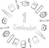 1 september logo svart white Skolatillförsel, fyrkantigt akademiskt lock, ringklockor, portföljer och axelväskor runt om inscripe royaltyfri illustrationer