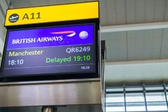 Display announcing a flight delay stock photo