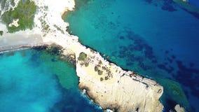 September 2017: Luchtmening van Fourni-Strand, Rodos-Egeïsch eiland, Griekenland Royalty-vrije Stock Fotografie