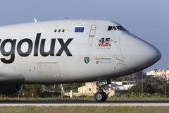 3 September 2015, Luqa, Malta: Jumbojet ongeveer om op te stijgen Stock Fotografie