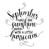 September-Mädchen sind der Sonnenschein, der mit einem kleinen Hurrikan gemischt wird stock abbildung