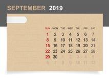 September 2019 - månatlig kalender på bakgrund för brunt papper och trämed område för anmärkning vektor illustrationer
