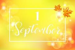 1 September-Malplaatje Vectorillustratie royalty-vrije illustratie