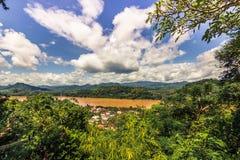 20 september, 2014: Mekong rivier in Luang Prabang, Laos Royalty-vrije Stock Fotografie