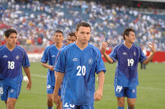September 4, 2004 members of Team El Salvador. Members of the El Salvador Fifa qualifier team walk off the pitch after losing to the United States 2-0 at Stock Photo