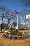 September 11 memorial with columns from  World Trade Center site in East Rockway. EAST ROCKAWAY, NEW YORK - MARCH 20: September 11 memorial with columns from Royalty Free Stock Images