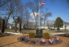 September 11 memorial with columns from  World Trade Center site in East Rockway. EAST ROCKAWAY, NEW YORK - MARCH 20: September 11 memorial with columns from Stock Image