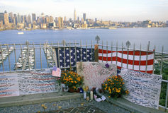 September 11, 2001 Memorial on rooftop looking over Weehawken, New Jersey, New York City, NY Royalty Free Stock Photos