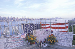 September 11, 2001 Memorial on rooftop looking over Weehawken, New Jersey, New York City, NY Royalty Free Stock Images