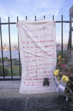 September 11, 2001 Memorial on rooftop looking over Weehawken, New Jersey, New York City, NY stock photo