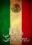 16 september Mexicaanse Spaanse de tekstkaart van de onafhankelijkheidsdag - affiche Royalty-vrije Stock Afbeelding