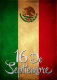September 16 Mexican independence day spanish text card - poster. 16 de Septiembre, dia de independencia de Mexico - September 16 Mexican independence day Vector Illustration