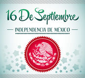 September 16 Mexican independence day spanish text. 16 de Septiembre, dia de independencia de Mexico - September 16 Mexican independence day spanish text card Stock Illustration