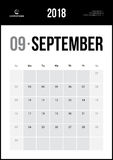 SEPTEMBER 2018. Minimalist Wall Calendar. Modern and Clean Minimalist Wall Calendar Royalty Free Stock Photos