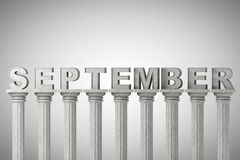 September-Monatszeichen auf klassische Spalten Lizenzfreies Stockfoto