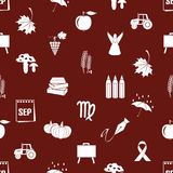 September month theme set of icons red pattern eps10. September month theme set of icons red pattern Royalty Free Stock Photo