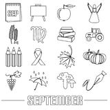 September month theme set of outline icons eps10. September month theme set of outline icons Royalty Free Stock Photography