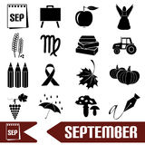 September month theme set of simple icons eps10. September month theme set of simple icons Stock Photo