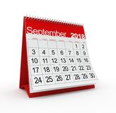 September 2018 Monthly Calendar. 3d rendered illustration Royalty Free Stock Photos