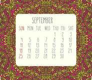 September 2016 monthly calendar. September 2016 vector monthly calendar over lacy doodle hand drawn background, week starting from Sunday Royalty Free Stock Image