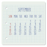 September 2016 monthly calendar Stock Photo