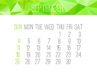 September 2016 monthly calendar Royalty Free Stock Photo
