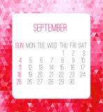 September 2016 monthly calendar Stock Photo