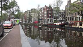 September morning on the channel Prinsengracht. Amsterdam, Netherlands stock footage
