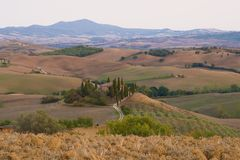 September morning landscape in the neighborhood of San Quirico d`Orcia. Italy. September morning landscape in the neighborhood of San Quirico d`Orcia, Italy Stock Photography
