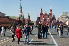 September 2917, Moscow, Russia. Red square with a rest people. A lot of people walk on red square in Sunny day output Stock Image