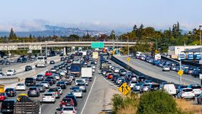 September 9, 2019 Mountain / View / CA / USA - Heavy morning traffic on Highway 101 going through Silicon Valley, South San