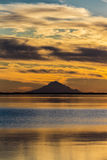 September 1, 2016, Mt Redoubt Volcano at Skilak Lake, spectacular sunset with extinct volcano in view, Alaska, the Aleutian Mounta Royalty Free Stock Image