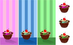 September-Muffin verziert mit Tapete wallpape Stockbilder