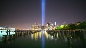 11 september night light 4k time lapse from new york city. 11 september night light 4k time lapse from new york stock video