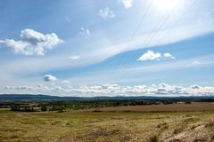 September 2017 Norway, view at a mowed field in the middel of norway Stock Photos