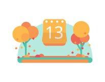 September 13 or October on the calendar. Vector flat. Design Stock Image