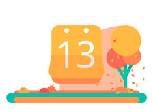 September 13 or October on the calendar. Vector flat Stock Image