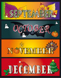 September october november december. Illustration of the months september october november december. stock 3 Stock Images
