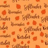 September, october and november pattern. Autumn lettering pattern. stock photos