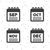 September, Oktober, November und Dezember-Ikonen Kalendersymbole Stock Abbildung