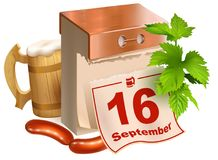 September 16, 2017 Oktoberfest. Beer festival symbols wooden beer mug, green leaves hop, tear-off calendar, fried sausages. Isolated on white vector cartoon 3d Stock Photos