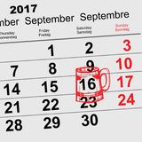 September 16, 2017 Oktoberfest. Calendar beer mug reminder icon. Vector illustration Royalty Free Stock Photo