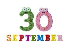 30 september, op een witte achtergrond, de letters en de getallen Stock Foto