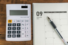 September organizer with calculator Royalty Free Stock Photos