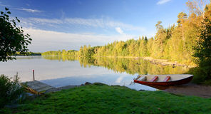 September panorama landscape of Swedish lake Stock Photos
